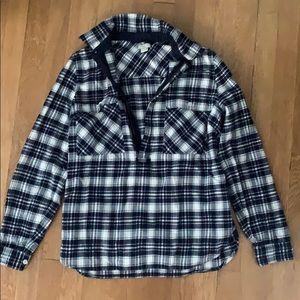 J Crew Women's Flannel Quarter-Zip Pullover Jacket